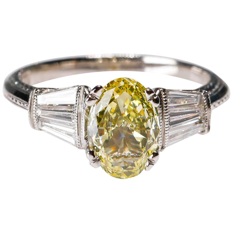 1.58 Carat Oval Yellow Diamond Baguette Platinum Ring by Tacori For Sale