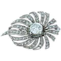 1.58 Carat Round Diamond Pin circa 1940s 14 Karat White Gold