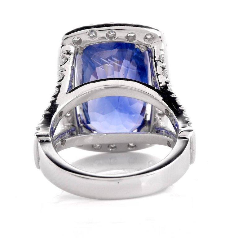 15.80 Carat Blue Sapphire Diamond Cocktail Ring For Sale 3