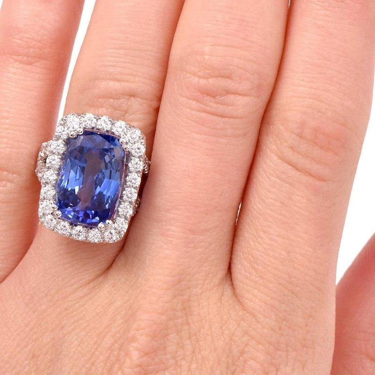 15.80 Carat Blue Sapphire Diamond Cocktail Ring For Sale 5