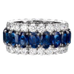 15.80 Carat Oval Sapphire Diamond 18 Karat White Gold Eternity Band Ring