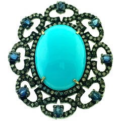 15.86 Carat Turquoise, 2.17Ct Sapphire and Pave Diamond Ring Silver, 14Kt Gold