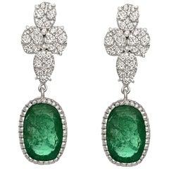 15.87 Carat Natural Vibrant Deep Green Color Emerald and Diamond Earring