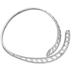 15.88 Carat Pear Pavé Diamond 18 Karat White Gold Open Collar Choker Necklace