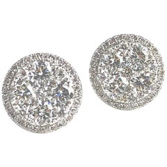 1.59 Carat Diamond Cluster Bezel Stud Earrings in 18 Karat Gold