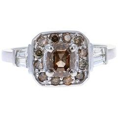 1.59 Carat Fancy Champagne Diamond Engagement 14 Karat White Gold Ring