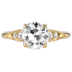 1.59 Carat GIA Certified Vintage Cushion Cut Diamond Set in 18 Karat Yellow Gold