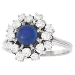 1.59 Carat No Heat Burma Star Sapphire and Diamond Gold Ring GIA