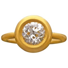 1.59 Carat Old Mine European cut Diamond & 22 Carat yellow Gold Ring by Hancocks