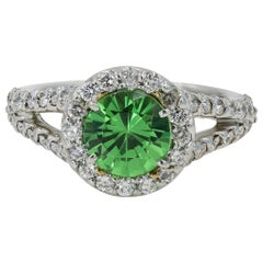 1.59 Carat Round Cut Tsavorite 'Originated from Kenya' and Diamond Ring