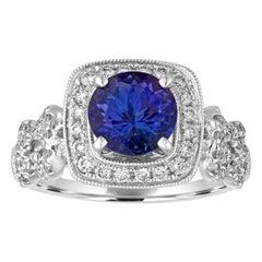 1.59 Carat Round Tanzanite Diamond Square Milgrain Halo Gold Ring