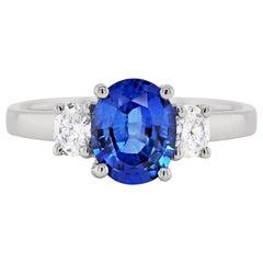 1.59 Carat Sapphire and Diamond 18 Carat White Gold Engagement Ring