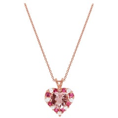 1.59 Ct Pink Morganite Pink Tourmaline Round Diamond Heart Pendant 14K Rose Gold