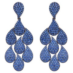 15.90 Carat Brilliant-Cut Blue Sapphire Chandelier Drop Earrings