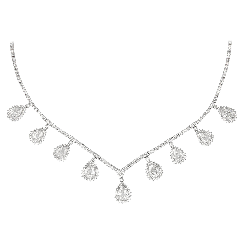 15.91 Carat Old Pear Cut Diamond Dangling Necklace 18 Karat White Gold