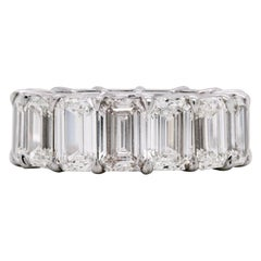 15.92 Carat Emerald Cut Diamonds All GIA Certified Platinum Eternity Band
