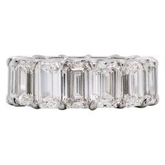 15.92 Carat Emerald Cut Diamonds All GIA Certified Platinum Eternity Band