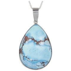 15.92 Carat Pear Shaped Turquoise Pendant in 14 Karat White Gold