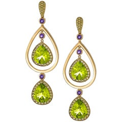 15.92 Carat Peridot, Yellow Sapphire and Amethyst Earrings in 18 Karat Gold