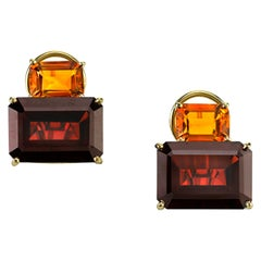 15.93 ct. t.w. Emerald Cut Garnet & Citrine 18k Yellow Gold French Clip Earrings