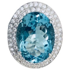 15.95 Carat Aqua Marine and Diamond Ring