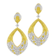 15.95 Carat Natural Fancy Yellow & Colorless Brilliant Diamonds on 18K Earrings