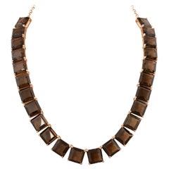 159.5 Carat Smoky Quartz Necklace in 18 Karat Rose Gold with Diamonds