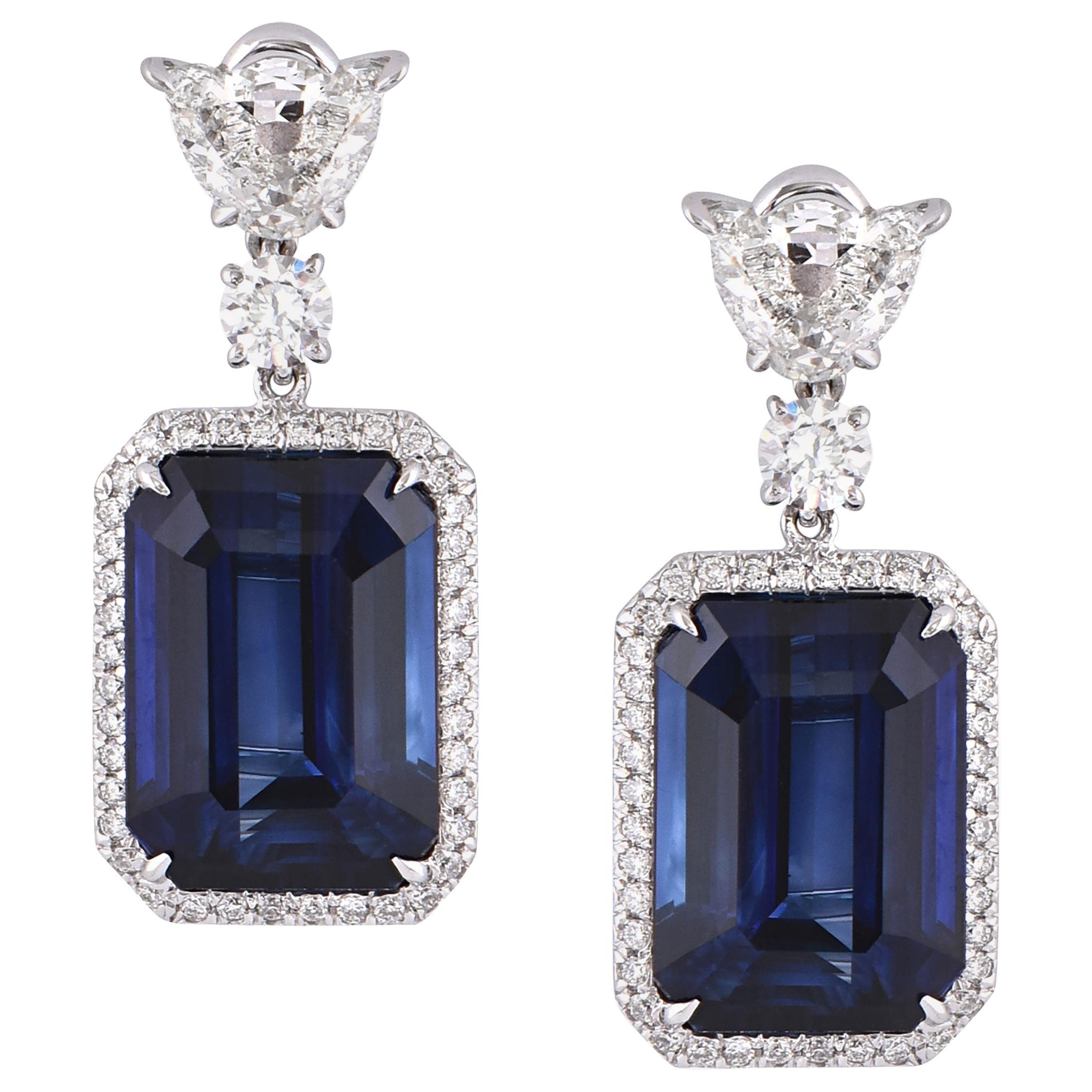 Laviere 15.97 Carat Blue Sapphire and Diamond Earrings