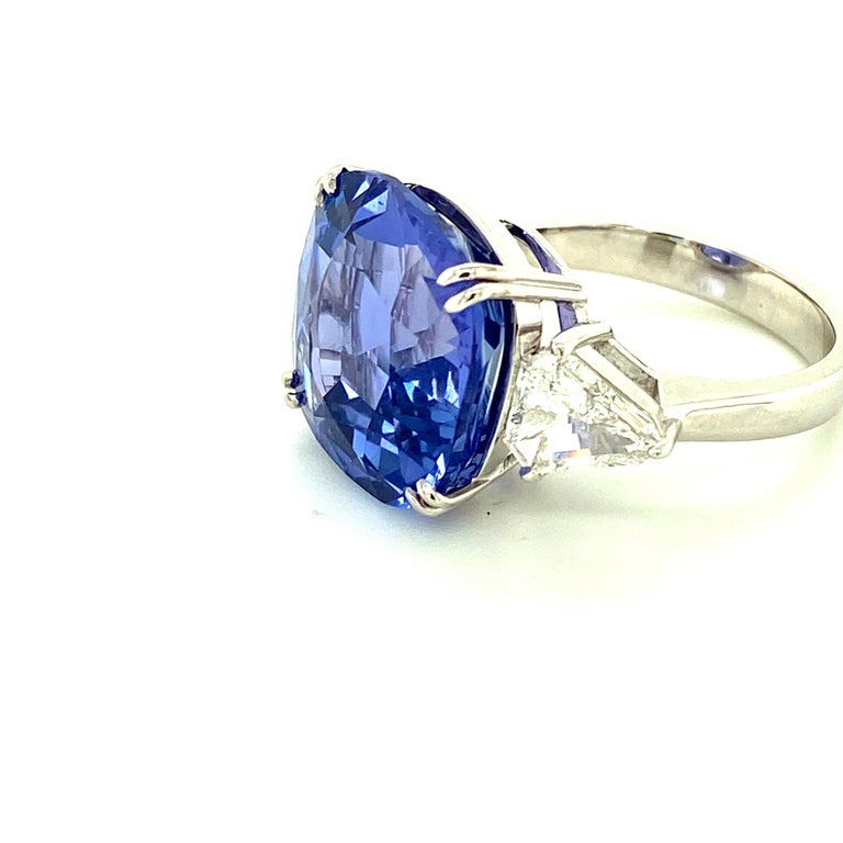 Cushion Cut 15.97 Carat GRS Certified No Heat Color Change Sapphire and Diamond Ring For Sale