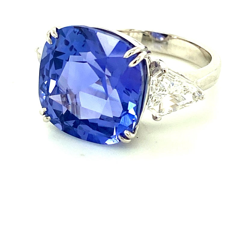 15.97 Carat GRS Certified No Heat Color Change Sapphire and Diamond Ring In New Condition For Sale In Admiralty, HK
