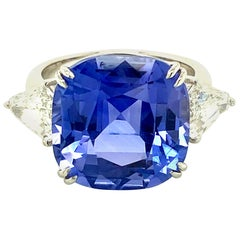 15.97 Carat GRS Certified No Heat Color Change Sapphire and Diamond Ring