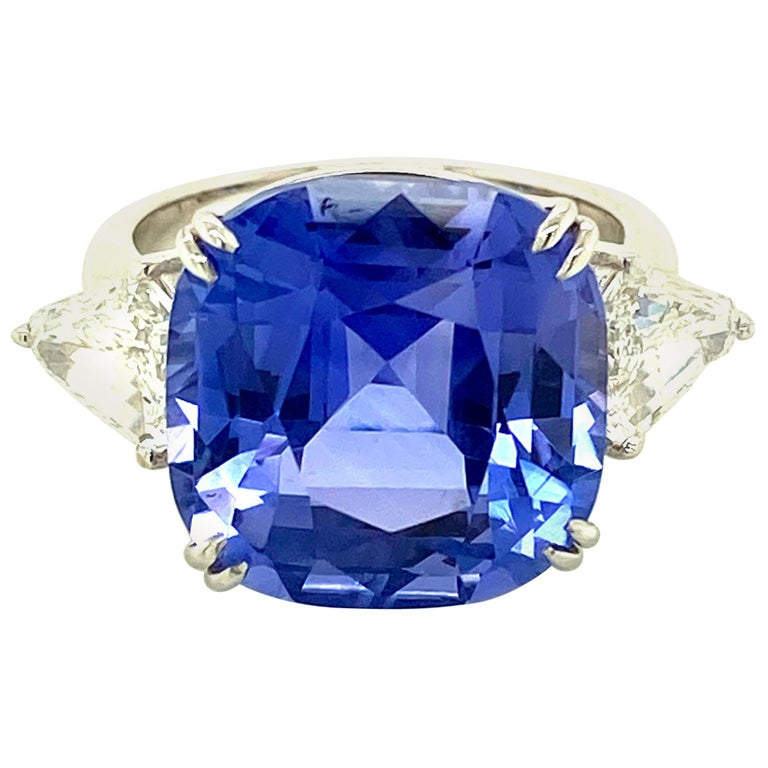 15.97 Carat GRS Certified No Heat Color Change Sapphire and Diamond Ring For Sale