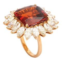 15.98 Carat Garnet Diamond Pink Gold Ring