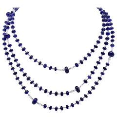 159.97 Blue Sapphires Beads and White Diamond Briolè Beaded Necklace