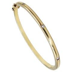 Stackable Convex Matte Thin Three-Stone Diamond Bangle in 18K Yellow Gold