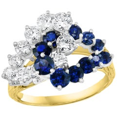 1.5 Ct Blue Sapphire & 1.4 Ct Diamond Cocktail Ring 18 Karat Yellow Gold Estate