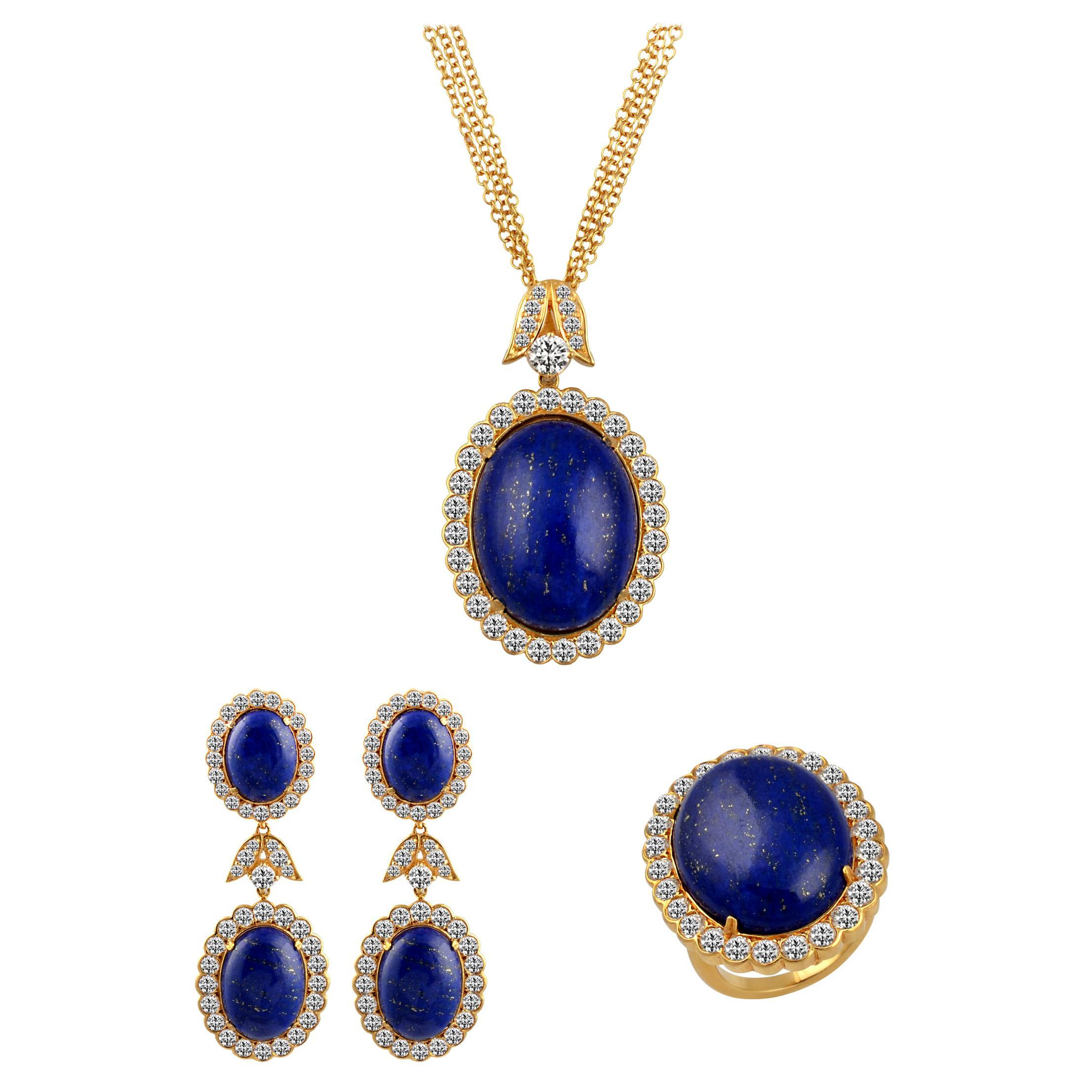 15Ct Diamond & 30Ct Natural Lapis Lazuli Set 18 K Y Gold, Ring, Earring, Pendant