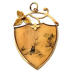 15ct Gold Antique Japanese Hand Painted Pendant