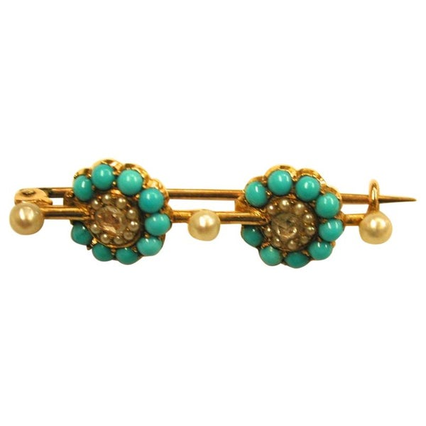 15ct Gold Bar Brooch Set with Turquoise, Seed Pearls and Rose Diamonds, c. 1880