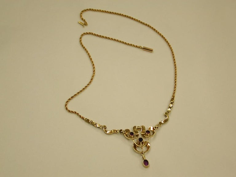 15 Carat Gold Pendant Set with Half Pearls, and Amethysts, Integral Rope Chain For Sale 3