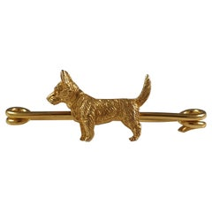 15ct Yellow Gold Cairn Terrier Stock Pin Brooch