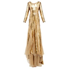$15K CAROLINA HERRERA Sequinned Silk-organza Gown In Gold