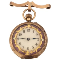 15 Karat Gold Enamel Gold Inlaid Dial Antique Brooch Fob Watch, circa 1890