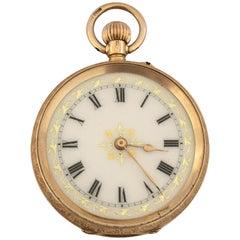 15 Karat Gold Fully Engraved Case Enamel Dial Fob / Pocket Watch