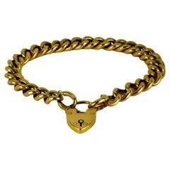 15K Yellow Gold Heart Padlock Curb Link Bracelet