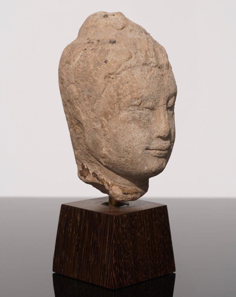 Ming 15th-16th Century Thai Sandstone Buddha Head For Sale