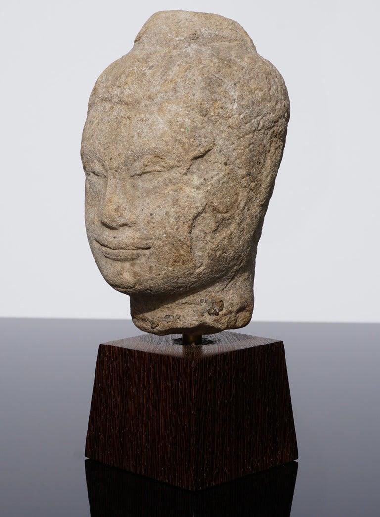 Hand-Carved 15th-16th Century Thai Sandstone Buddha Head For Sale