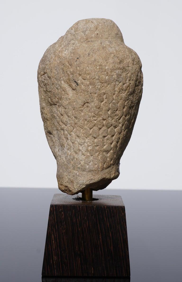 15th-16th Century Thai Sandstone Buddha Head For Sale 1