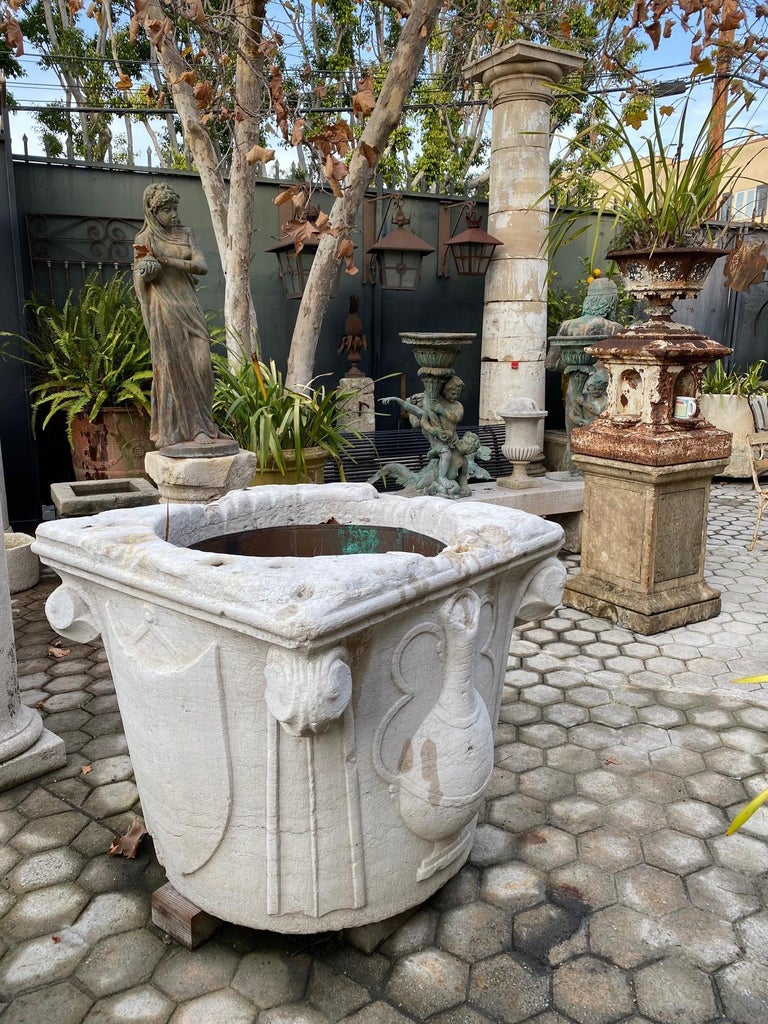 Renaissance Wellhead Hand Carved Marble Container Planter Basin Antiques Melrose For Sale 3