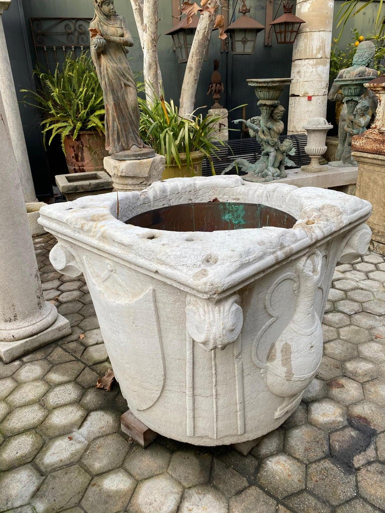 Renaissance Wellhead Hand Carved Marble Container Planter Basin Antiques Melrose For Sale 5
